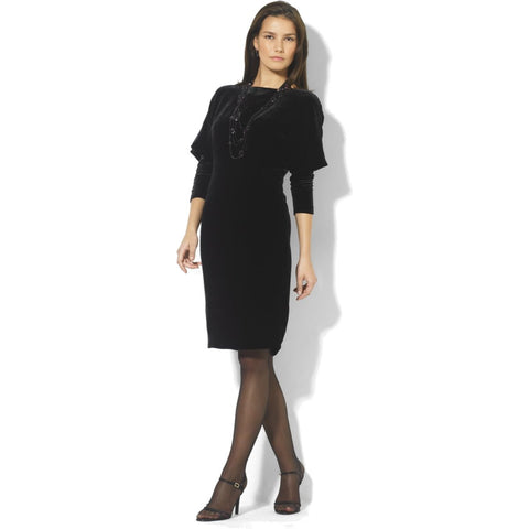 "Lauren Ralph Lauren ""Tacey"" V-Back Dolman Sleeve Velvet Dress - Your Glam Style - 1"
