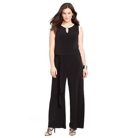 Lauren Ralph Lauren Wide-Leg Belted Plus Size Jumpsuit - Your Glam Style - 2