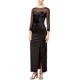 Tahari ASL Beaded Illusion Neckline Satin Gown - Your Glam Style
