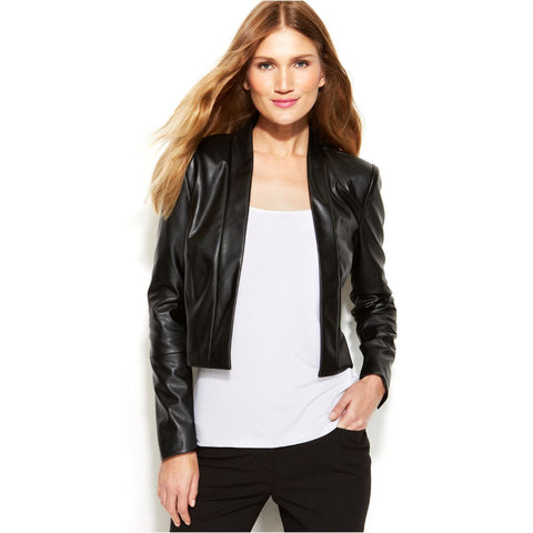 Calvin Klein Faux-Leather Open-Front Cropped Jacket - Your Glam Style - 3