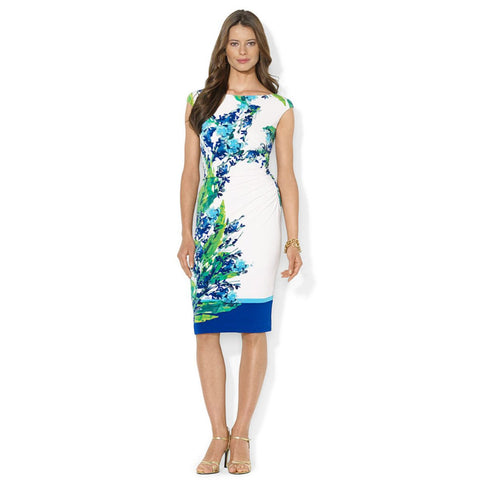 Lauren Ralph Lauren Floral Print Ruched Sheath Dress - Your Glam Style - 1