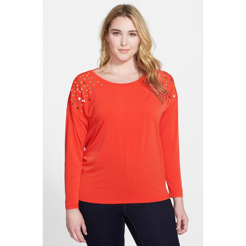 MICHAEL Michael Kors Studded Drop-Shoulder Plus Size Top - Your Glam Style - 2