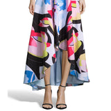Nicole Miller New York Abstract Print Cutout-Back High-Low Dress
