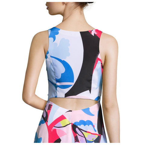 98f385a517afb ... Nicole Miller New York Abstract Print Cutout-Back High-Low Dress ...