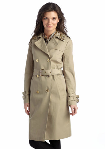 MICHAEL Michael Kors Embellished Studded Collar Double-Breasted Trench Coat - Your Glam Style - 2