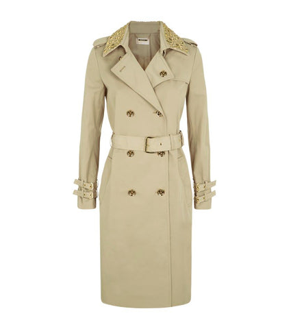 MICHAEL Michael Kors Embellished Studded Collar Double-Breasted Trench Coat