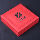 One Bitcoin, with Red Leatherette Etui