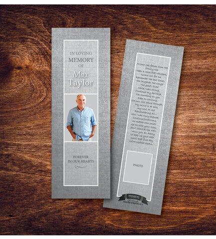Grey Linen Funeral Bookmark