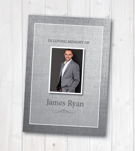 Grey Linen Funeral Booklet