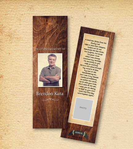 Classic Wood Funeral Bookmark