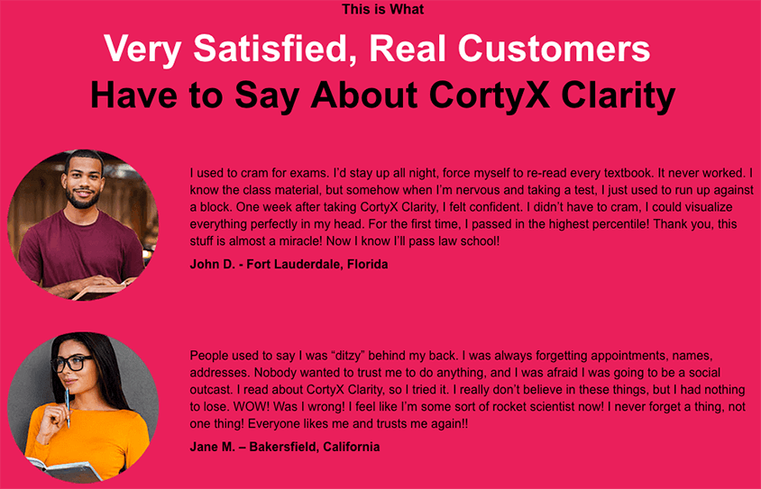 CortyX Clarity Fake Reviews