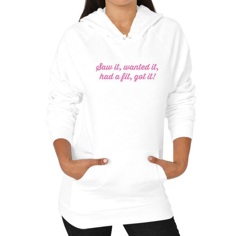 Saw it, wanted it, had a fit, got it! Hoodie (on woman) White THATSTICKER.COM