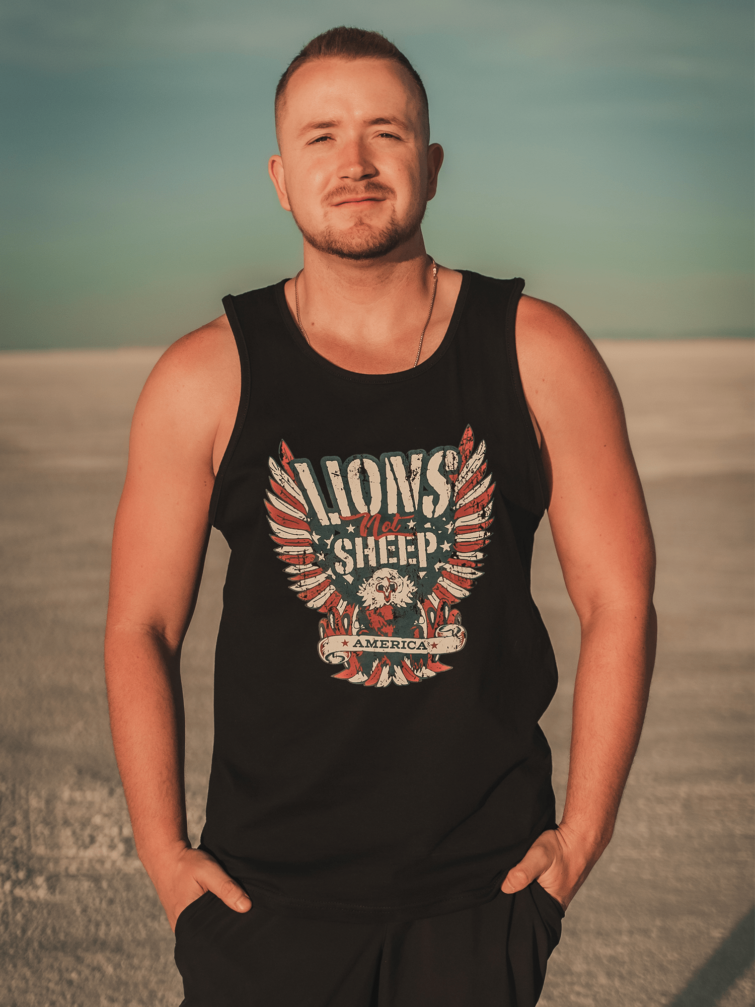 FREEDOM EAGLE Mens Tank - Lions Not Sheep