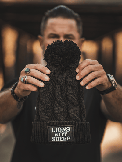 LIONS NOT SHEEP OG Stocking Hat (Black) - Lions Not Sheep