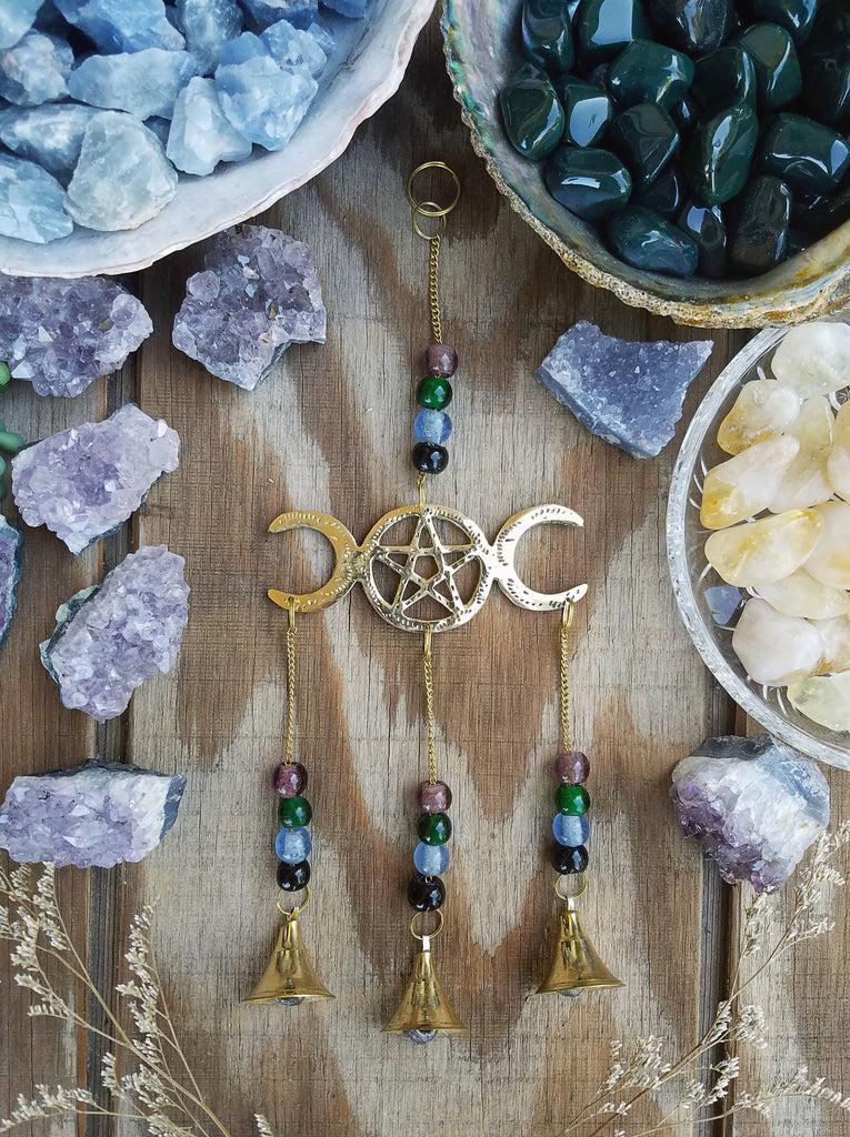 Triple Moon Goddess Pentacle Wall Hanging