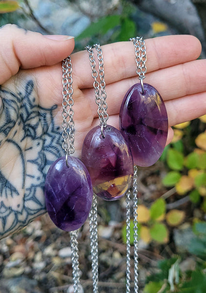 Amethyst Stalactite Crystal Necklaces