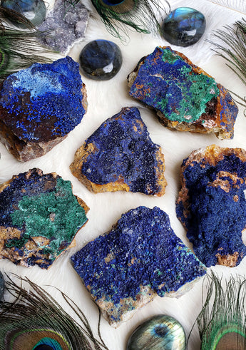 Azurite with Malachite Raw Stones