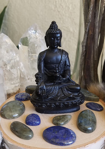 Black Buddha Resin Statue