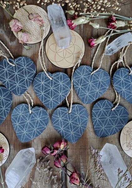 Black Slate Engraved Heart Ornaments