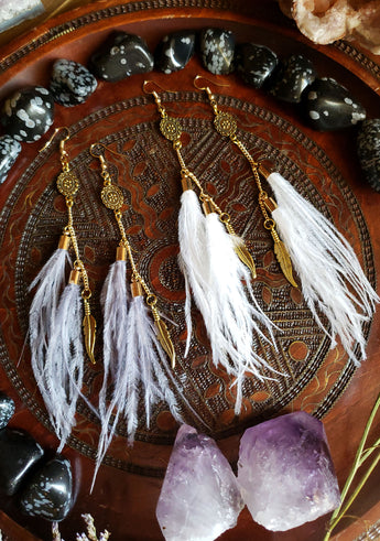 Gold Bohemian Feather Charm Earrings
