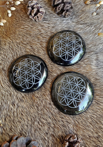 Gold Sheen Black Obsidian Flower of Life Discs