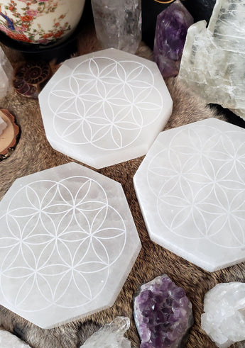 Selenite Charging Plate - Flower of Life