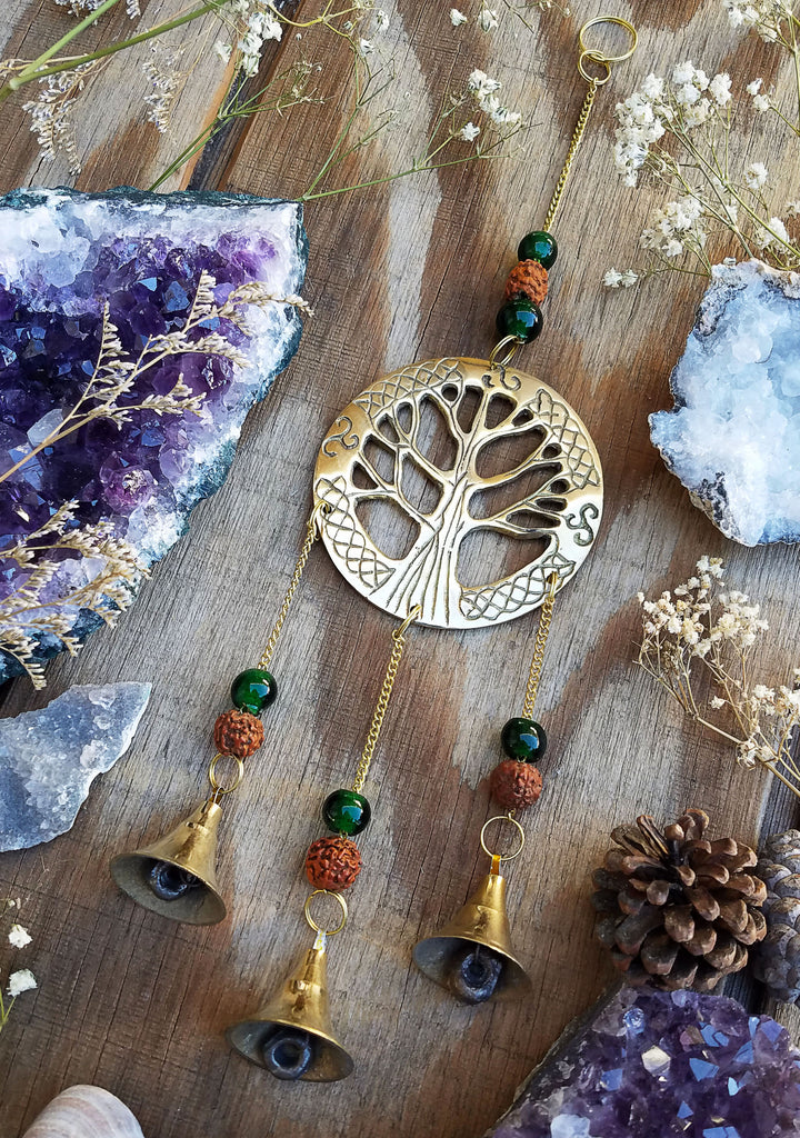 Gold Tree of Life Bell Charm Wall Hanging