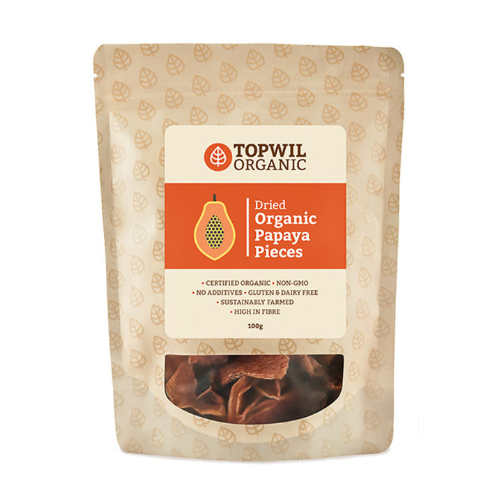 Organic Dried Papaya Pieces 100g