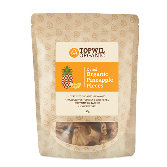 Organic Dried Pineapple Pieces 100g