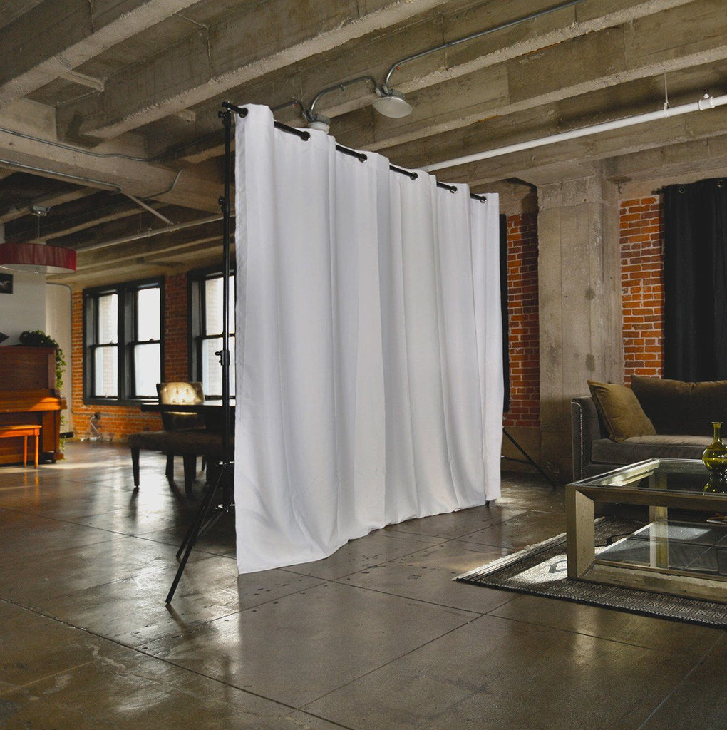 ... White Freestanding Room Divider Kit - Closed - Loft ... - RoomDividersNow Freestanding Room Divider Kits - For Spaces Up