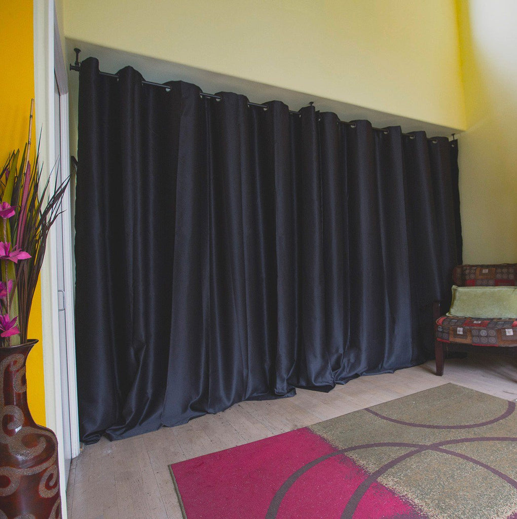 Black Premium Heavyweight Room Divider Curtains Closed