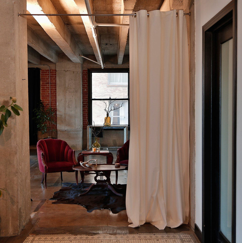 White Muslin Room Divider Curtains