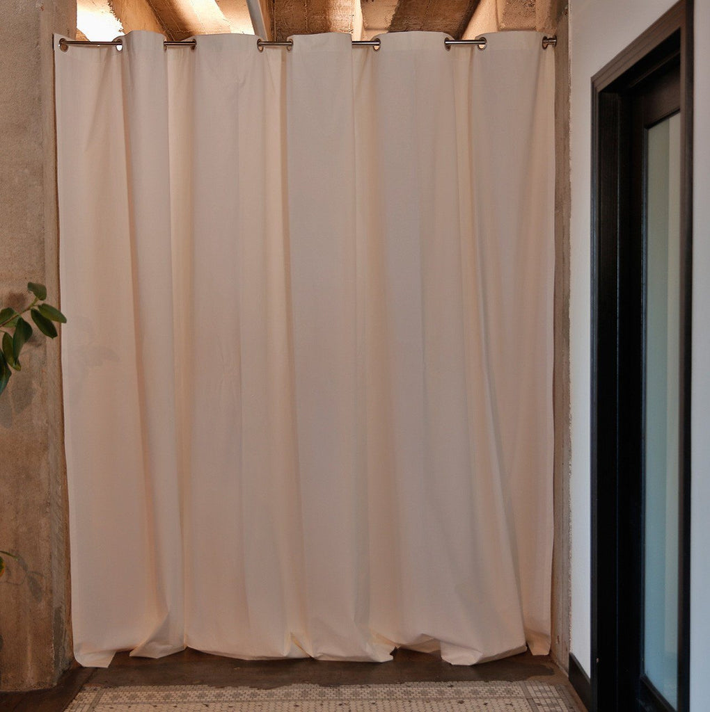 White Muslin Room Divider Curtains Closed