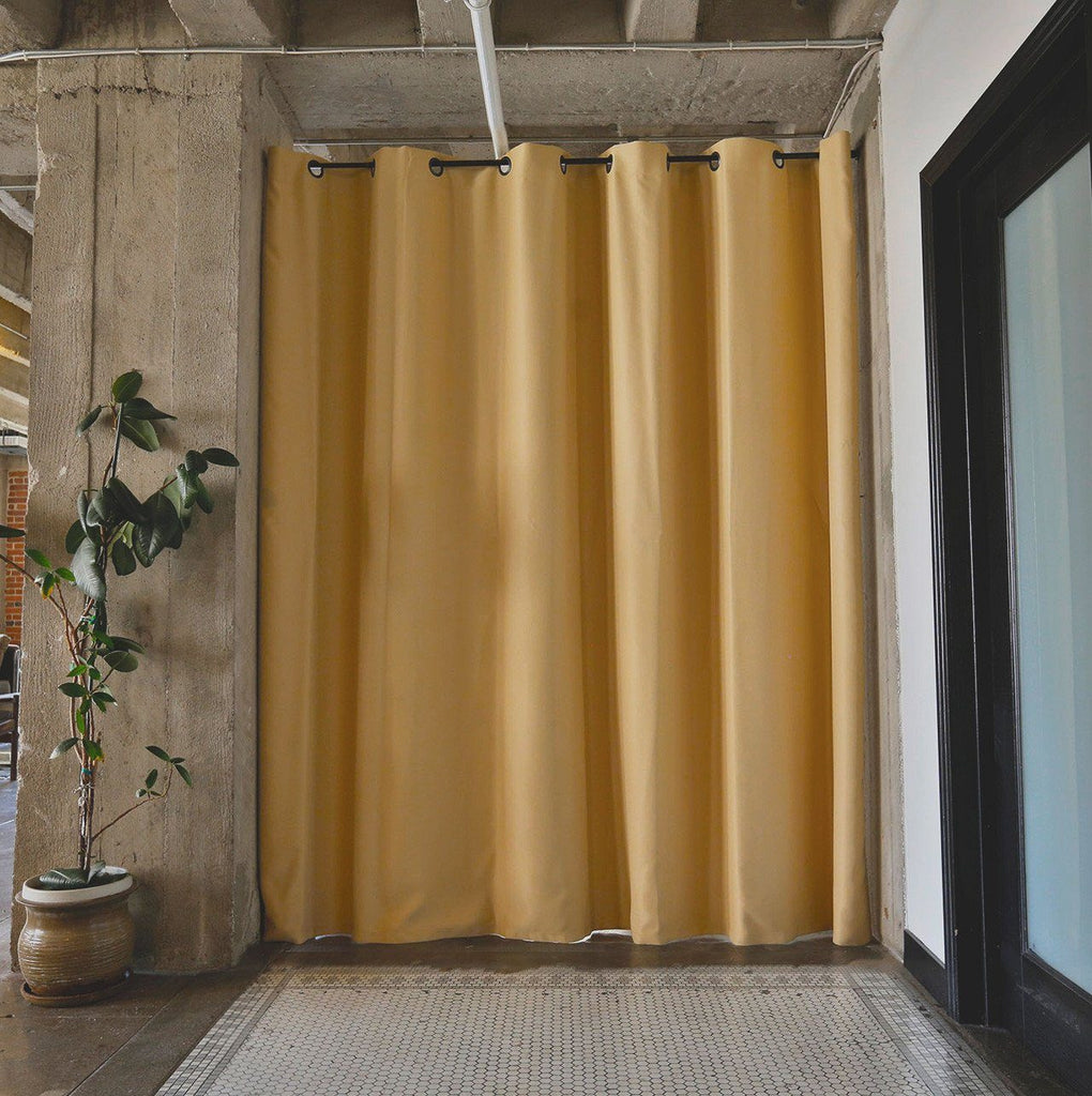 ... Dusty Gold Divider w/ Black Rod - RoomDividersNow Premium Tension Rod Room Divider Kits - Easy To
