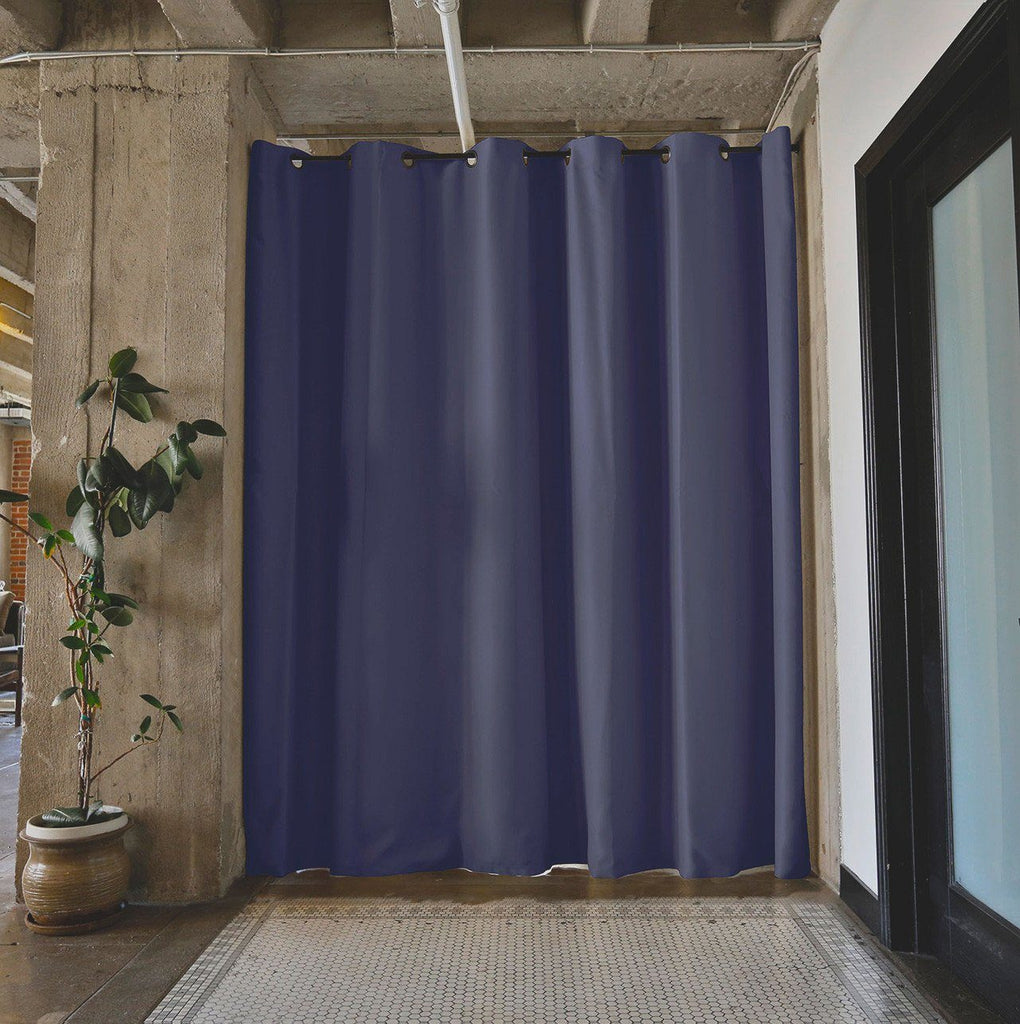 Roomdividersnow premium tension rod room divider kits for Curtain partition living room