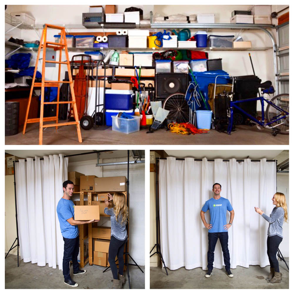Garage organization- hide clutter using Room Divider Curtain