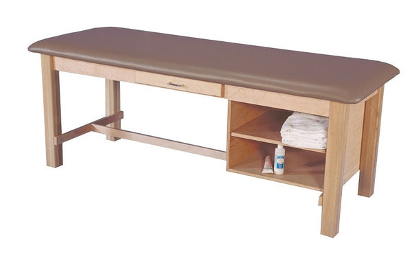 Armedica AM-608 Maple Hardwood Treatment Table with Drawer and Shelf - Core Medical Equipment