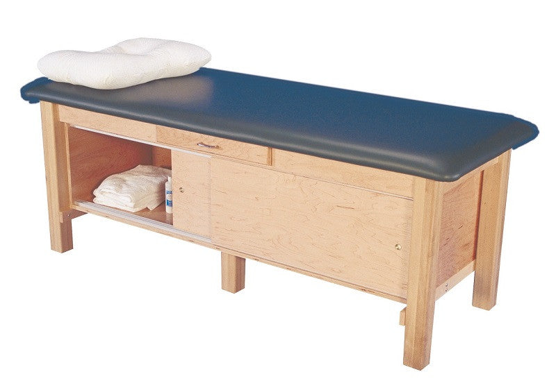 Armedica AM-612 Hardwood Treatment Table with Full Cabinet and Drawer <font color=red>(Includes Shipping)</font> - Core Medical Equipment
