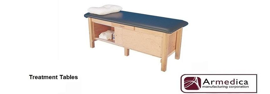 Solid hardwood treatment tables