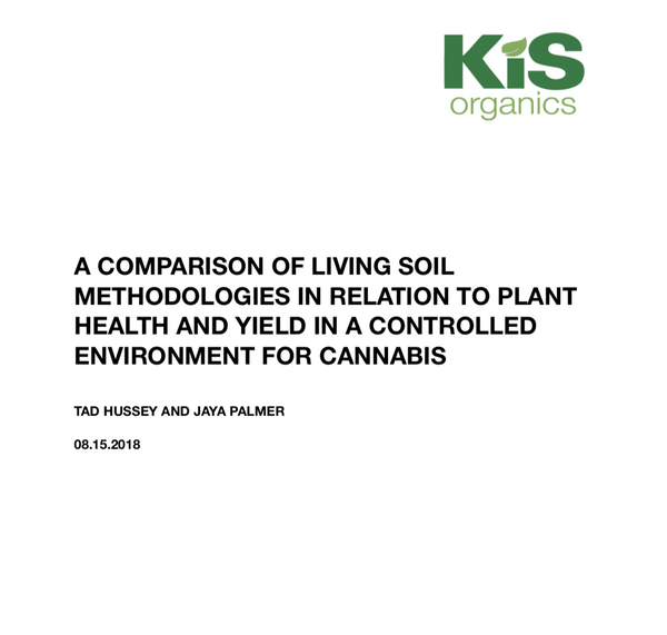 A COMPARISON OF LIVING SOIL METHODOLOGIES IN RELATION TO PLANT HEALTH AND YIELD IN A CONTROLLED ENVIRONMENT FOR CANNABIS