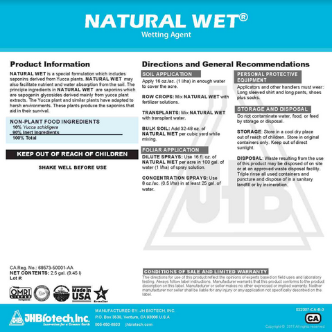 Natural Wet Organic Wetting Agent - 1 gallon