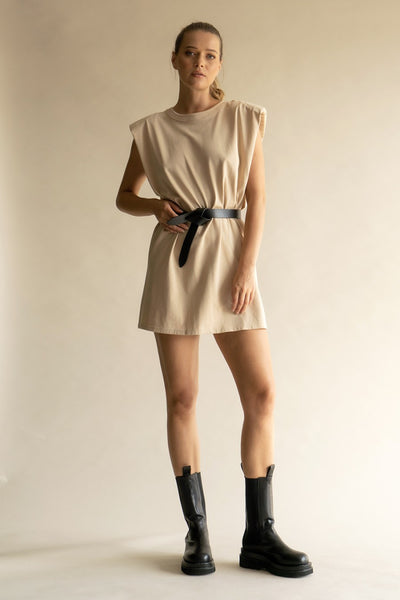 Fast Forward Padded Shoulder Dress - Taupe