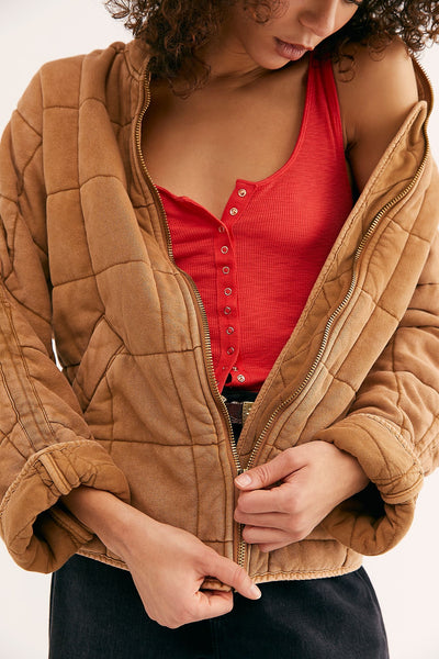 Dolman Quilted Knit Jacket - Toasted Coconut