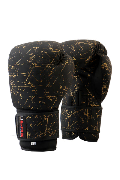 UBOX Classic Gold Splatter Synthetic Boxing Gloves