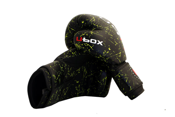 UBOX Classic Fluoro Green Splatter Synthetic Boxing Gloves