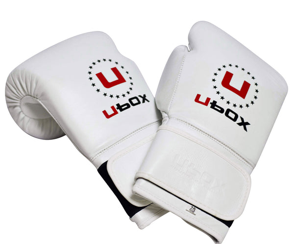 UBOX Pro Premium White Leather Boxing Gloves
