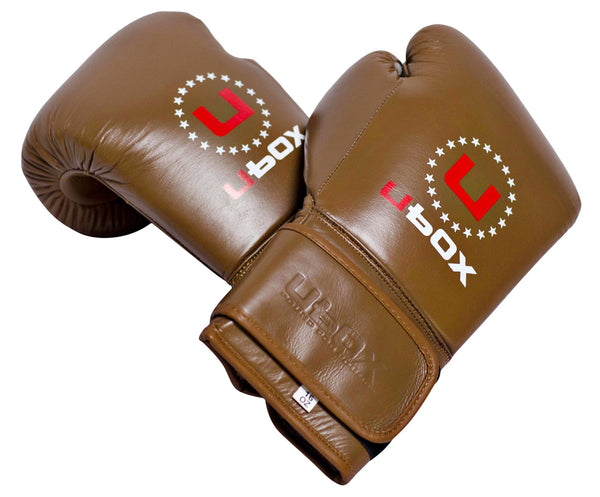 UBOX Pro Premium Vintage Brown Leather Boxing Gloves