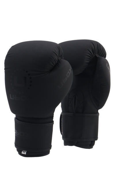 UBOX Classic Matte Black Synthetic Boxing Gloves