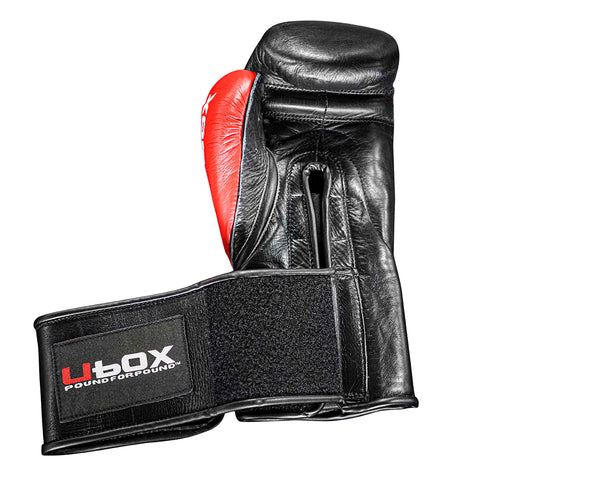 UBOX Pro Premium Black & Red Leather Boxing Gloves