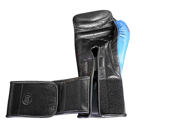 UBOX Pro Premium Black & Blue Leather Boxing Gloves